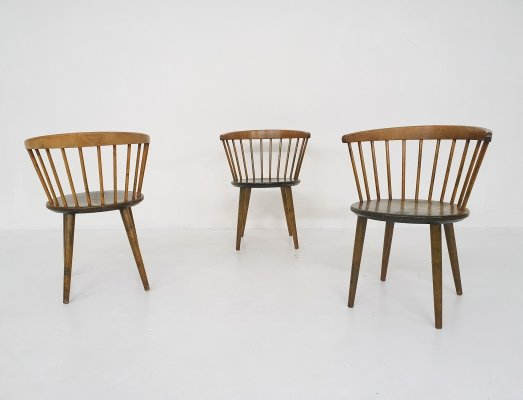Set of three Yngve Ekstrom for Nesto spindle back 'circle' chairs, Sweden 1950's