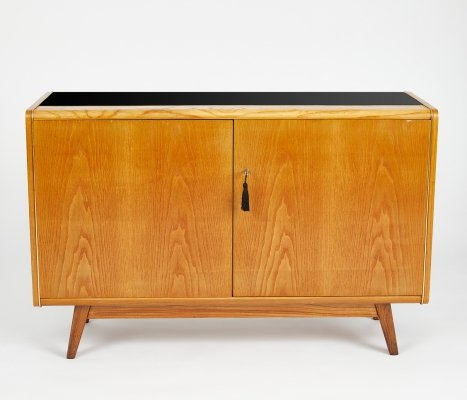 Mid Century Sideboard with opaxit glass by Bohumil Landsman for Jitona, 1960's