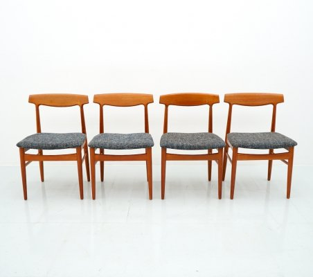 Set of 4 Teak Wood Dining Chairs Mod. 60 by Henning Kjaernulf, 1960s