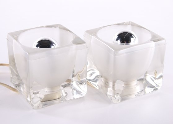 Set of two Peill & Putzler ice cube table lamps, 1960s