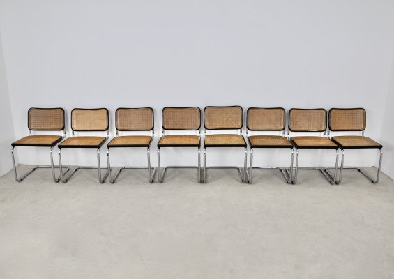 Set of 8 'B32' Knoll International Dining chairs by Marcel Breuer, 1980s