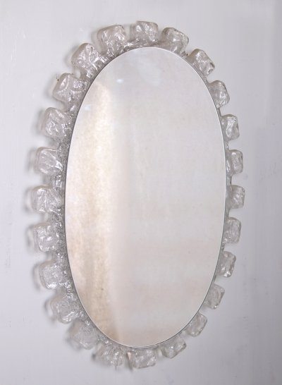 Large Oval Wall Mirror From Hillebrand, Germany 1960s