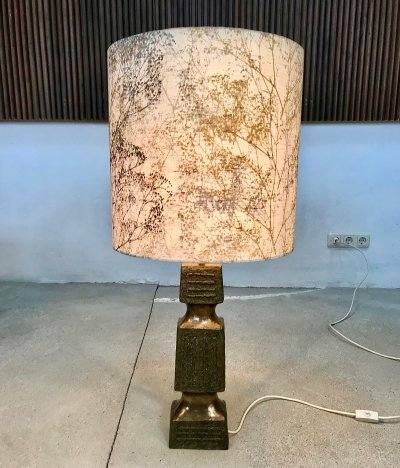 Large Table Lamp with Brutalist Cast Stone Base & Plant Decor Shade, 1960s