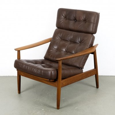 Teak & Leather Lounge Chair by Arne Vodder for Cado, 1960s