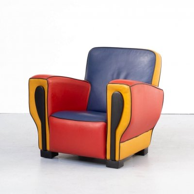 90s leather design 'HipHop' lounge fauteuil by Peter van Zoetendaal