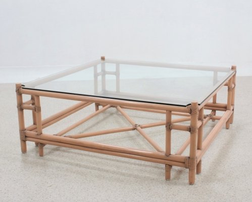 Vintage rattan large coffee table by McGuire, 1970s