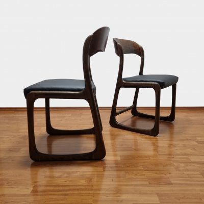 Black Eco Leather Trineau Dining Chairs by Baumann, France 60s