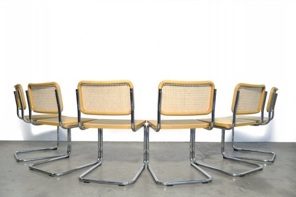 6 Cesca tubular frame cantilever dining chairs by Fasem, Italy 1999
