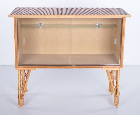 Bamboo bar cabinet with glass doors, 1960s