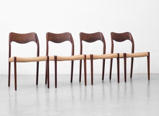 Set of 4 Rio Rosewood 'Model 71' chairs by Niels O. Møller, 1960s