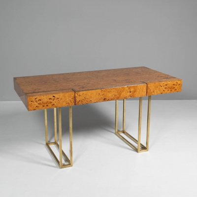 Desk by Jean Claude Mahey with three drawers in ash burl wood