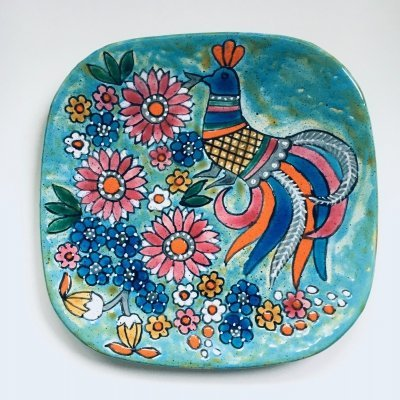 Art Pottery Hand-Painted Charger Dish by Marjatta Taburet, Quimper France 1960's