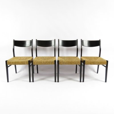 Set of 4 Belgian straw chairs, 1950s