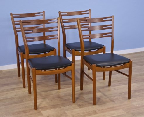 Set of 4 Danish dining chairs model 210 in teak by Farstrup, 1960s