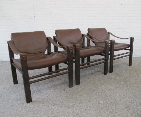 Vintage Safari chairs by Maurice Burke for Skippers Mobler, 1970s