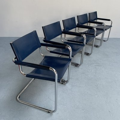 Set of 5 dining chairs S34 by Mart Stam for Fasem, Italy 1980s