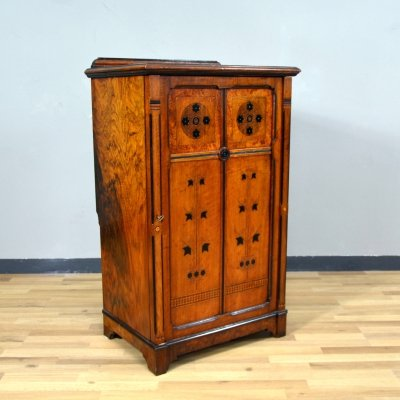 Mahogany burl wood Filing Cabinet from H. Ogden & Son, 1920s