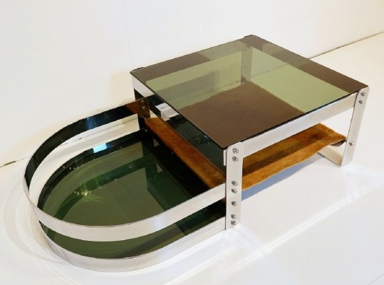 Willy Rizzo Coffee Table In Steel, Glass And Cow Skin, 1970s
