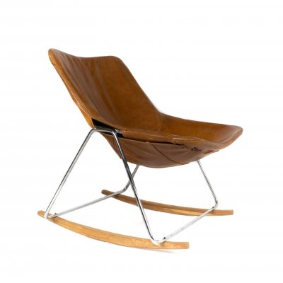 G1 Leather Rocking Chair by Pierre Guariche, France 1950s