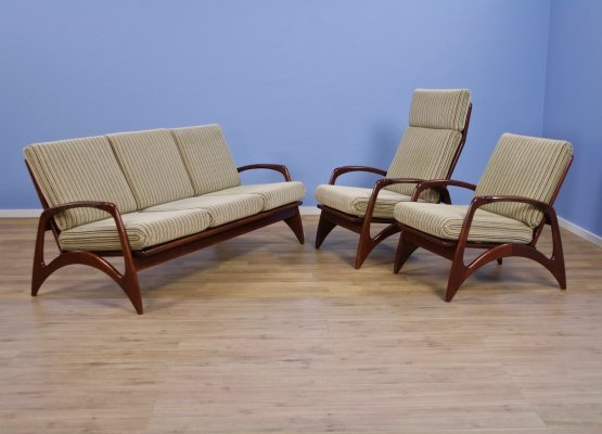 Set of 2 Dutch lounge chairs & 3-seater sofa in teak by de Ster, 1960s