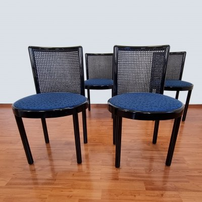 Set of 4 Italian Dining Chairs in Lacquered Wood & Cane, 1980s
