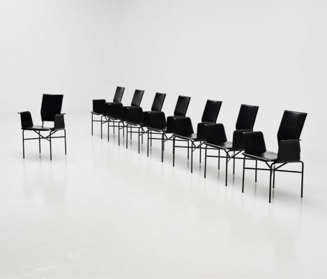 Matteo Grassi dining chairs in black leather, Italy 1975