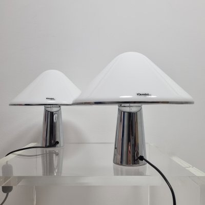 Pair of Space Age Mushroom Guzzini Elpis Table Lamps, Italy 1970s