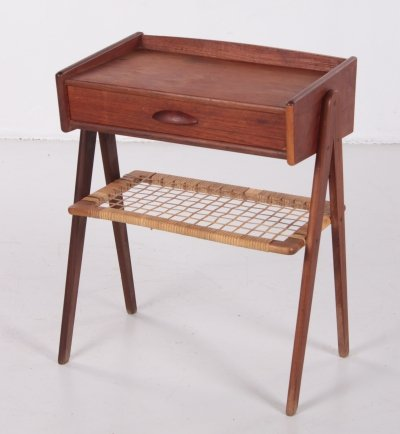 Danish bedside table with rattan rack & drawer