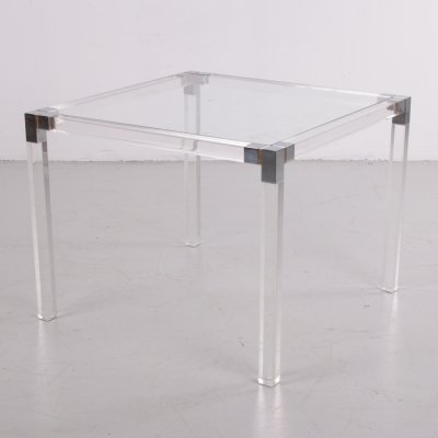 Plexiglass side table with metal details, 1980s