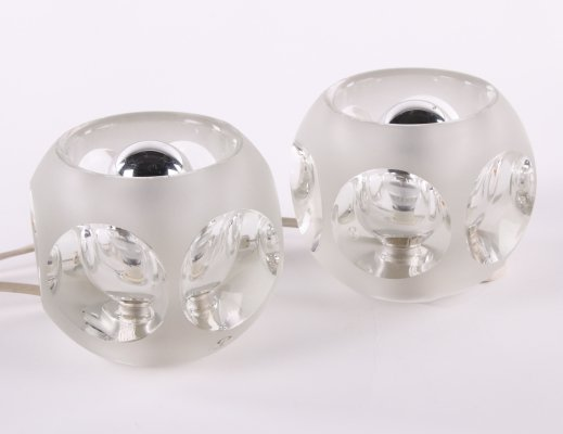 Set of two Peill & Putzler ice cube table lamps, 1970s