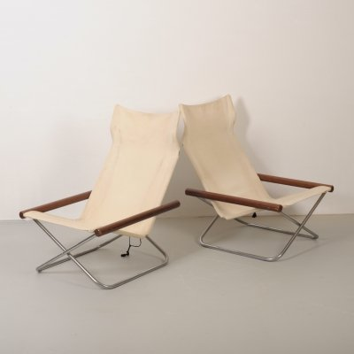 Mid century folding canvas 'NY' chair by Takeshi Nii, Japan 1958