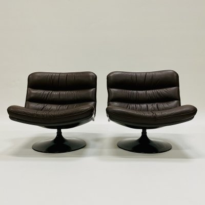Brown leather F978 lounge chairs by Geoffrey Harcourt for Artifort, 1950s