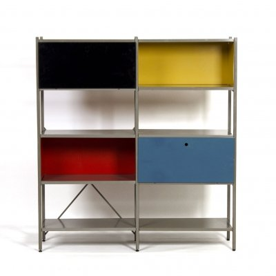 Yellow, Black, Red & Blue Model 663 Cabinet by Wim Rietveld for Gispen, 1950s