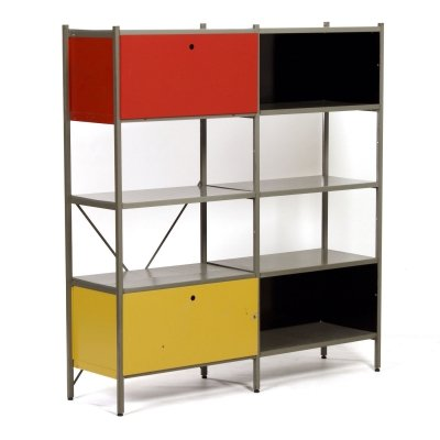 Red, Yellow & Black Model 663 Cabinet by Wim Rietveld for Gispen, 1950s