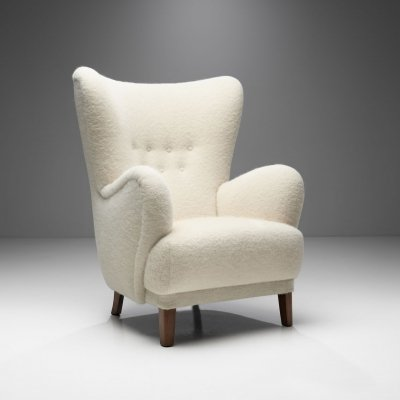 Danish Wingback Chair with Stained Beech Legs, Denmark 1940s