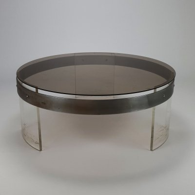 1970s Coffee table with Smoked Glass top, Steel & Lucite base