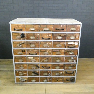 Vintage industrial chest of drawers with 40 drawers