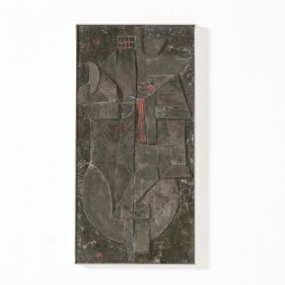 Abstract Brutalist Ceramic Wall Sculpture, 1970s