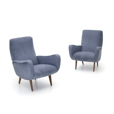 Pair of armchairs in gray-blue fabric, 1950's