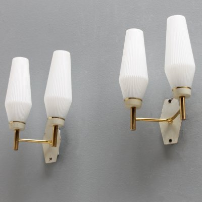 Pair of French wall lights with white glass shades & brass details