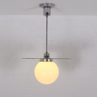 Rare glass 'Giso' suspension by W.H. Gispen, Netherlands 1930's