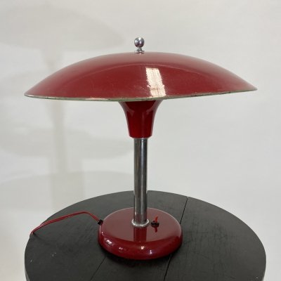 Red art deco table lamp by Max Schumacher, 1930s