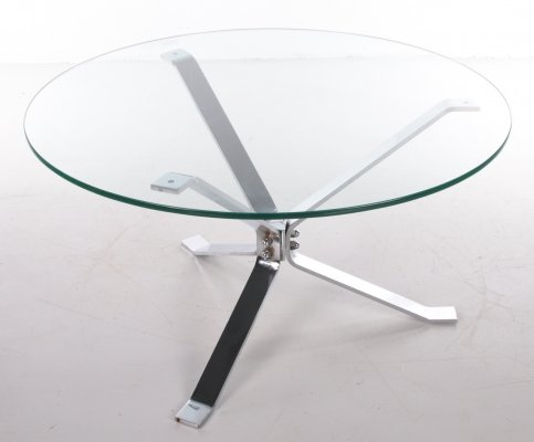 Chrome Coffee table with thick glass top round, 1970s
