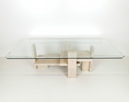 Travertin & glass coffee table by Willy Ballez, 1970s