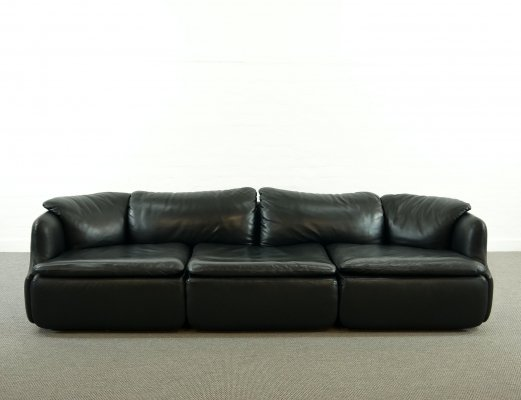 Black leather Confidential sectional sofa by Alberto Rosselli for Saporit, 1972