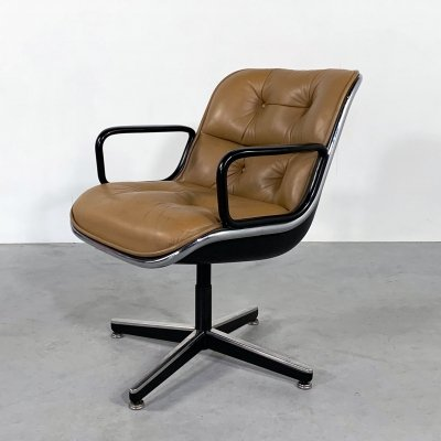 Camel Leather Executive Office Chair by Charles Pollock for Knoll, 1970s