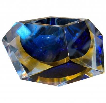 1970s Faceted Blue & Yellow Murano Glass Ashtray by Seguso