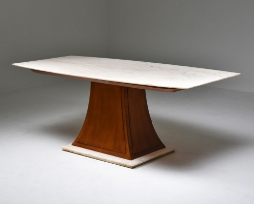 Italian Art Deco Dining Table with Marble Top, 1940's