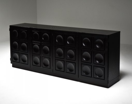 Brutalist Credenza in Black Stained Oak, 1970's