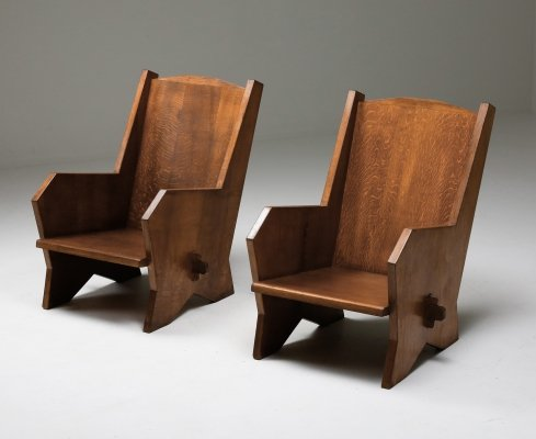 Italian Armchairs in Stained Beech, 1940's